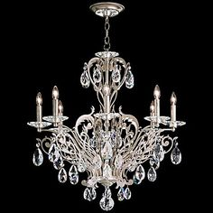 "Schonbek Filigrae 26""W Antique Silver 8-Light Chandelier"