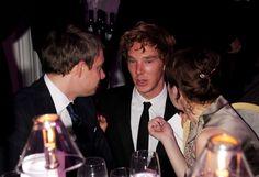 Martin Freeman, Benedict Cumberbatch and Amanda Abbington (Photo by Dave M. Benett/Getty Images)