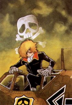 """My Youth in Arcadia,"" Captain Harlock by Leiji Matsumoto from the Shonen Sunday's comic series ""The Cockpit."" Looks very Crimson Skies in theme. Galaxy Express, Manga Anime, Anime Art, Space Pirate Captain Harlock, Art Vintage, Animation, 3d Prints, Classic Cartoons, Neon Genesis Evangelion"