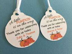 Fall Baby Shower Favor Tags Pumpkin Baby by PinkCarnationStudio                                                                                                                                                                                 More