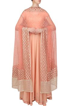 Peach mirror work embroidered flared anarkali set available only at Pernia's Pop Up Shop.