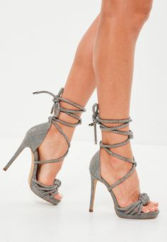 0d2e9b070639 Missguided - Grey Check Knotted Front Platform Sandals