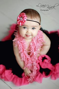 Pink Black HEADBAND Silky Satin Rosette Puff with Mega Bling - Fits Babies Toddlers girls Photography Prop Boutique Sassy Posh Princess