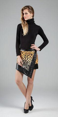 Saia - Malha Newprene® Printed e Malha Royal Leather. #sportchique #printedskirt #animalprint #movimentosilencioso #formasassimetricas