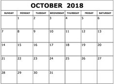 15 Best Printable Calendar October 2018 With Holidays Notes Images