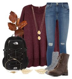 """""""contest entry"""" by marthaswilliams ❤ liked on Polyvore featuring Frame Denim, J.Crew, Charlotte Russe, The North Face, Jennifer Meyer Jewelry and Jennifer Zeuner"""