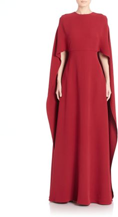 Valentino | Red Silk Cady Cape Gown | Lyst