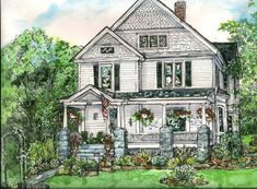 HOUSE PORTRAITS - Pen/Ink and Watercolor - Original Custom Portrait of Your Home on Etsy, $95.00