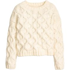 H&M Cable-knit jumper ($37) ❤ liked on Polyvore featuring tops, sweaters, shirts, jumpers, natural white, chunky cable knit sweater, long sleeve sweater, white sweater, shirt sweater and white shirt