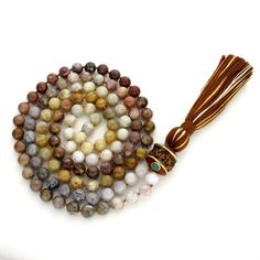 8mm Bamboo Agate/Rudraksha 108 Full Buddhist Malas, Gemstone Mala Necklace, Knotted Mala Beads, Japa, Buddhist Rosary Prayer Meditation Yoga