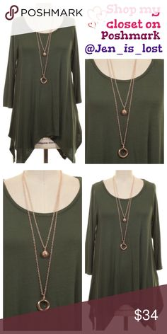 Moving Sale  Dark Green Asymmetrical  Top Dark Green Asymmetrical Hem Tunic Description: Solid asymmetrical hem tunic with double necklaces  Content: 95% RAYON  5% SPANDEX  No Trades ✅Reasonable Offers Are Considered✅ Use the blue offer button. Tops Tunics