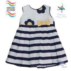 Vestido de bebe PIZPIRETA pique marinero rayas azul
