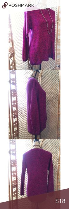 """LAST CHANCE✨Vintage Fuchsia Oversized Sweater VINTAGE! Excellent condition. Tag is gone, no major signs of wear. Knit style material. Very flattering fit! Slight hi-lo style that gives you an oversized feel. 😊 Material has stretch. GORGEOUS mystic fuchsia color that is a cross between pink and purple with bits of black mixed in. Length: 27"""". Bust laying flat: 18"""". Arm inseam: 19"""". Ask questions! FINAL MARKDOWN! LAST CALL! Vintage Sweaters Crew & Scoop Necks"""