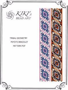 Peyote Pattern for bracelet - Tribal geometry ethnic inspired geometric peyote bracelet pattern in PDF - two versions