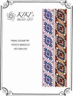 Peyote Pattern for bracelet - Tribal geometry ethnic inspired geometric peyote bracelet pattern in PDF - two versions