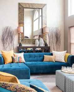 Living room color schemes, blue living room decor, colourful living room, p Blue Living Room Decor, Colourful Living Room, Living Room Color Schemes, Paint Colors For Living Room, Living Room Grey, Living Room Interior, Blue And Orange Living Room, Bedroom Decor, Living Room Inspiration