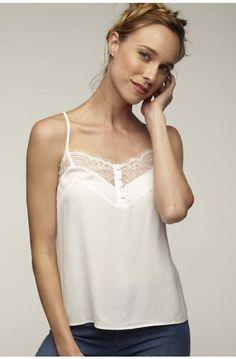 2a58498270434 T-shirt femme débardeur dentelle MARINE - Grain de Malice | mes ...