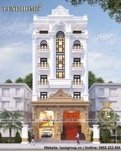 Mẫu thiết kế khách sạn 7 tầng đẳng cấp – KS 7111 (  Design of 7-storey hotel class - KS 7111 ) Modern Villa Design, Classic House Design, Cool Girl Bedrooms, Luxury Homes Dream Houses, Luxury Villa, Modern Architecture, Facade, Md Fashion, Exterior
