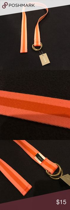 """NWT J. Crew Belt NWT! J. Crew size S/M belt. 100% Polyester bright pink & orange striped. Thick woven material. Double gold 1/2 circle buckles you feed through & back around to tighten. 1.25"""" wide 38"""" long. Price tag: $39.50 J. Crew Accessories Belts"""