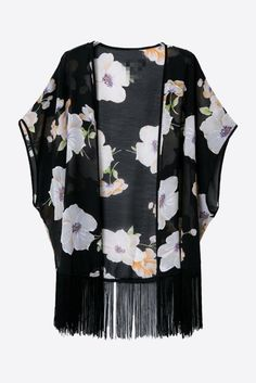 Black Gardenia Printed Chiffon Kimono. Free 3-7 days expedited shipping to U.S. Free first class word wide shipping. Customer service: help@moooh.net