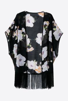 Black Gardenia Printed Chiffon Kimono. Free 3-7 days expedited shipping to U.S. Free first class word wide shipping. Customer service: help@moooh.net