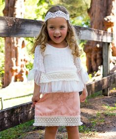 Love this Mia Belle Baby Crème Ruffle Top & Peach Floral Crochet Skirt - Toddler & Girls by Mia Belle Baby on #zulily! #zulilyfinds