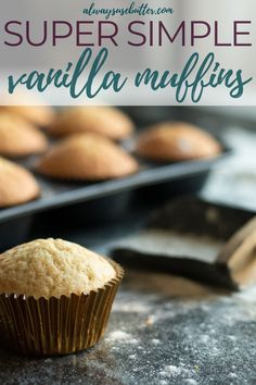 Easy Vanilla Muffins - Perfect For Cupcakes! The best Vanilla Muffins are moist, delicious & super easy to make from scratch. With ingredients y Easy Cupcake Recipes, Muffin Recipes, Baking Recipes, Homemade Muffins, Homemade Cookies, Fun Desserts, Dessert Recipes, Brunch Recipes, Yummy Recipes