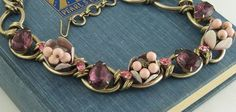 Pink Enameled Bell Flower Purple Rhinestone Necklace by EyeImpact
