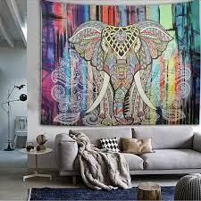 New Hippie Mandala Tapestry Elephant Wall Hanging Bedspread Throw Blanket Rug Tapestry Beach, Bohemian Tapestry, Mandala Tapestry, Tapestry Wall Hanging, Wall Hangings, Hippie Tapestries, Elephant Tapestry, Elephant Art, Colorful Elephant