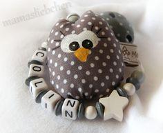 Schnullerkette Mini - Eule © ♥ Name 16872 von Schnullerkette mit Namen auf DaWanda.com