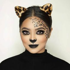 """""""Last minute Leopard Makeup is easy to do using in 203 and 886 … """"Last minute Leopard Makeup is easy to do using in 203 and 886 along with their brow pomades to create the spots! ❤️"""" """"Last minute Leopard Makeup is easy to do using in 203 and 886 … """"Last … Cat Halloween Makeup, Halloween Outfits, Halloween Make Up, Cheetah Halloween Costume, Leopard Costume, Halloween Makeup Last Minute, Adult Cat Costume, Halloween Costumes, Cheetah Makeup"""