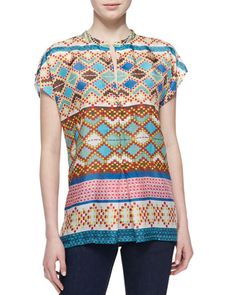 Mixed-Print Silk Short-Sleeve Blouse, Women\'s  by Johnny Was Collection at Neiman Marcus.