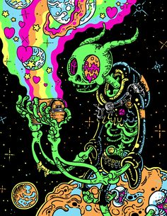 We Want to Live in Gloombones' Grungy Neon Universe is part of Trippy art psychedelic - These gloriously detailed, gleefully gross cartoons are a joy to behold Arte Dope, Dope Art, Trippy Drawings, Art Drawings, Psychedelic Art, Art Hippie, Trippy Pictures, Trippy Painting, Acid Art