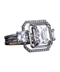 Wedding Rings Alexandra Mor Asscher-Cut Engagement Ring - From asscher to round, take a peek at the elegant options for engagement rings. Engagement Ring Buying Guide, Classic Engagement Rings, Platinum Engagement Rings, Engagement Ring Cuts, The Bling Ring, Bling Bling, Blue Sapphire Rings, Diamond Rings, Marquise Diamond