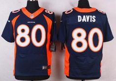 Denver Broncos #80 Vernon Davis Navy Blue Alternate NFL Nike Elite Men's Jersey