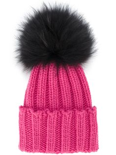 26eea34f604 Inverni Pink Ribbed Cashmere Hat With Fur Pom Pom - Farfetch