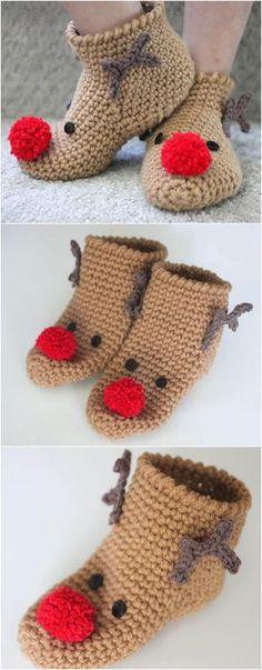Crochet Rudolph Slipper Socks – Crochet and Knitting Patterns Crochet Santa, Holiday Crochet, Love Crochet, Crochet Gifts, Knit Crochet, Crochet Christmas Hats, Beautiful Crochet, Crochet Slipper Boots, Slipper Socks