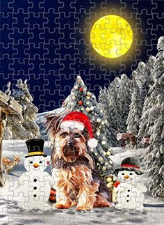 Yorkshire Terrier Dog with Snowman Jigsaw Puzzle, Christmas, 1000 Pieces Jigsaw Puzzle PrintYmotion #Yorkshire Terrier #Dog Lovers gift #Christmas Gift #Christmas Puzzle Lovers Gift, Gift For Lover, Dog Lovers, Christmas Puzzle, Christmas Tree, Yorkshire Terrier Dog, Metal Tins, 1000 Piece Jigsaw Puzzles, Snowman
