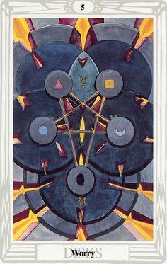 5 d'écus (Worry) - Tarot Thoth par Aleister Crowley