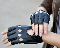 Women's Leather Fingerless Driving Gloves