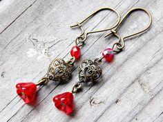 Victorian Heart & Red Flower Earrings - Antiqued Brass Filigree - Handmade Usa