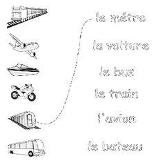 Transportation - Spanish Printouts for Kids Geometry Worksheets, Spanish Worksheets, Preschool Worksheets, Preschool Spanish, Spanish Classroom, French Classroom, Classroom Ideas, Teaching French, Teaching Spanish