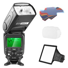 Flash Bracket White + Universal Flash Bounce Diffuser Complete Flash Accessory Bundle Cleaning Pen 4 AA Rechargeable Batteries /& Charger Off Camera Shoe Cord Canon Speedlite 470EX-AI Flash