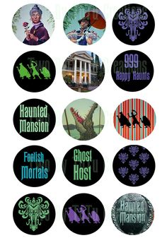 """1"""" Printable Disney Themed Haunted Mansion Wine Bottle Markers, Bottlecaps, Cupcake Toppers, Stickers. $1.50, via Etsy."""