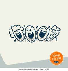 stock vector : Vintage Clip Art - People laughing out loud - Vector EPS10.