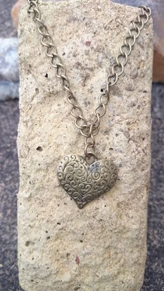 Bronze heart pendant necklace. Heart on a chain. Gift for her. by AndiyaCrafts on Etsy