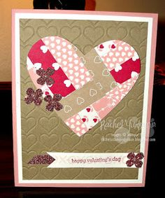 Rachel's Stamping Place: Scraps, Scraps, Scraps! Stampin' Up!'s designers series papers are great even if you only have scraps left. Put them together to make a quilted looking card. Pair it with some framelits to cut out an image and you have a great card.