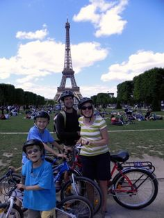 In front of the Eiffel Tower - the ultimate Paris with kids photo-op. #FatTireParis