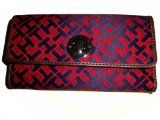 Women's Tommy #Hilfiger Continental Checkbook Wallet (Burgandy/Navy Alpaca Trimmed With Brown) (NEW)  
