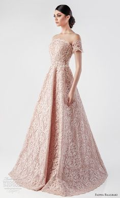 fadwa baalbaki spring 2018 couture off the shoulder curved neckline full embellishment romantic princess pink blush a line wedding dress sweep train (1) mv -- Fadwa Baalbaki Spring 2018 Couture Dresses | Wedding Inspirasi #wedding #weddings #bridal #weddingdress #bride ~